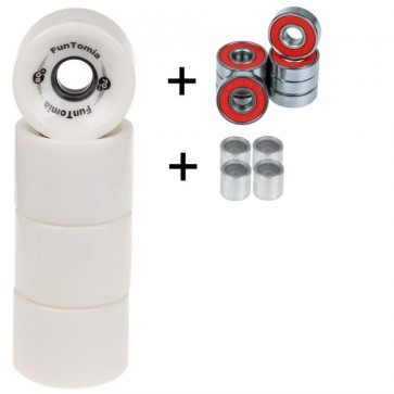 4x FunTomia® Longboard/Skateboard Rollen 80A inkl. Mach1® Kugellager und Spacer in weiß