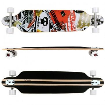 FunTomia® Freerider Longboard 9 Lagen Ahornholz in Rot/Weiß Satellite