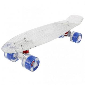 FunTomia® Mini-Board Skateboard und Tragetasche in transparent weiß mit blauen LED-Leuchtrollen