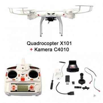 FunTomia® Quadrocopter MJX X101 RC Drohne 6-Axis Gyro Quad-copter Real Time 2.4 GHz inkl. FDP Kamera MJX C4010
