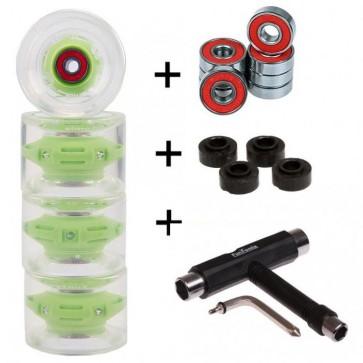4x FunTomia® LED Longboard/Skateboard Rollen 80A inkl. Mach1® Kugellager und Spacer in grün und T-Tool Schraubenschlüssel (Werkzeug)