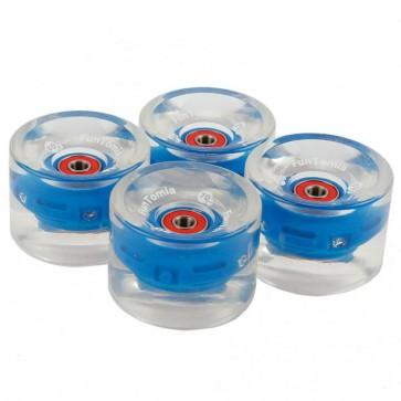 4x FunTomia® LED Longboard/Skateboard Rollen 80A inkl. Mach1® Kugellager und Spacer in blau