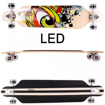 FunTomia® Freerider Longboard 9 Lagen Ahornholz in Farbe Grün Auge mit schwarzen LED Rollen
