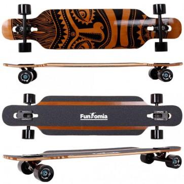 FunTomia® Bambus/Fiberglas Longboard - Drop Through-Bauweise - Flexstufe-2 inkl. T-Tool