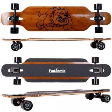 FunTomia® Bambus/Fiberglas Longboard - Drop Through-Bauweise - Flexstufe-1 inkl. T-Tool