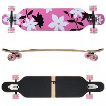 FunTomia Longboard Ahornholz - Farbe pink Flower LED (Flex3)