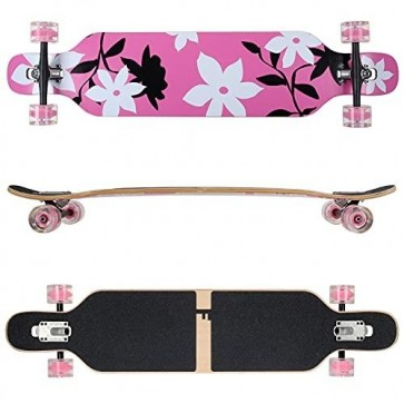 FunTomia Longboard Ahornholz mit Mach1 High Speed Kugellager T-Tool mit LED-Rollen Farbe pink Flower LED (Flex2)