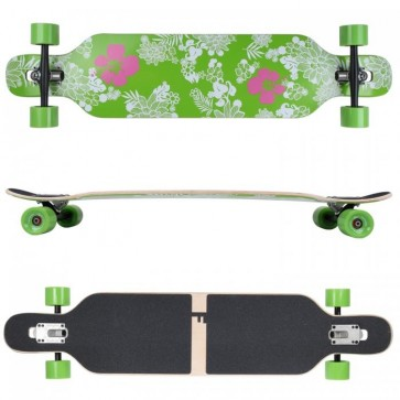 FunTomia Longboard Ahornholz mit Mach1 High Speed Kugellager T-Tool ohne LED-Rollen Farbe Hawaii Blume (Flex3)