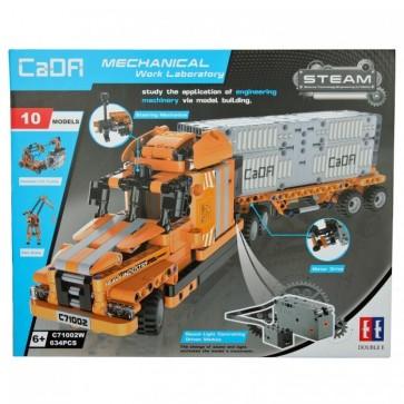 CaDa C71002W  Orangener LKW / Truck mit Anhänger - 634 klemmbausteine