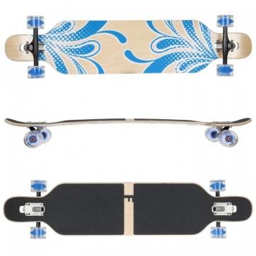 FunTomia Longboard Ahornholz - Farbe blau Blume LED (Flex2)