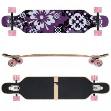 FunTomia Longboard Ahornholz mit Mach1 High Speed Kugellager T-Tool mit LED-Rollen Farbe lila Blume LED (Flex3)