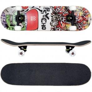 Skateboard mit ABEC-9 Kugellager / Design in Psycho Totenkopf.