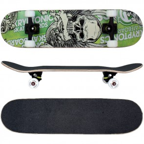 Skateboard mit ABEC-9 Kugellager / Design in Grün Totenkopf.