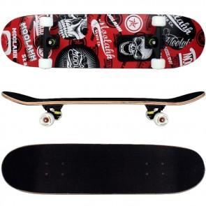 Skateboard mit ABEC-11 Kugellager / Design in Rot Totenkopf.