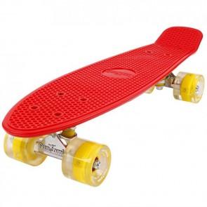 FunTomia® Mini-Board Skateboard und Tragetasche in Rot mit gelben LED-Leuchtrollen