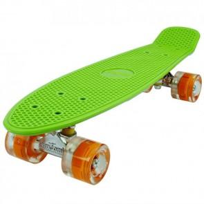 FunTomia® Mini-Board Skateboard und Tragetasche in Grün mit orangen LED-Leuchtrollen