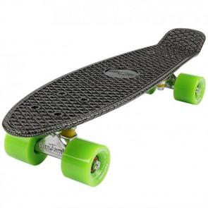 FunTomia® Mini-Board Skateboard und Tragetasche in Carbon Look mit grünen Rollen
