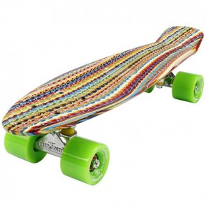 FunTomia® Mini-Board Skateboard und Tragetasche in Stripes mit grünen Rollen