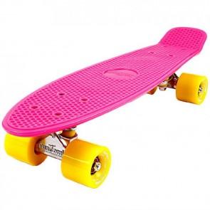 FunTomia® Mini-Board Skateboard und Tragetasche in Pink mit gelben Rollen