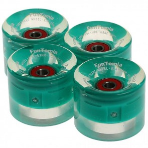 4x FunTomia® LED Skateboard/Miniboard Rollen 59x45mm 82A inkl. Kugellager und Spacer in Petrol