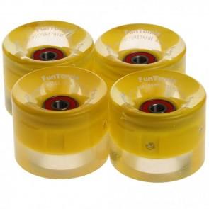 4x FunTomia® LED Skateboard/Miniboard Rollen 59x45mm 82A inkl. Kugellager und Spacer in Gelb