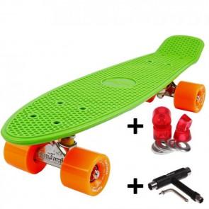 FunTomia® Mini-Board Skateboard und Tragetasche in Grün mit orangen Rollen inkl. 1x T-Tool+Lenkgummis