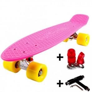 FunTomia® Mini-Board Skateboard und Tragetasche in Pink mit gelben Rollen inkl. 1x T-Tool+Lenkgummis