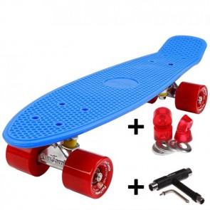 FunTomia® Mini-Board Skateboard und Tragetasche in Blau mit roten Rollen inkl. 1x T-Tool+Lenkgummis