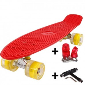 FunTomia® Mini-Board Skateboard und Tragetasche in Rot mit gelben LED-Leuchtrollen inkl. 1x T-Tool+Lenkgummis