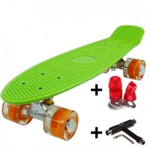 FunTomia® Mini-Board Skateboard und Tragetasche in grün mit orangen LED-Leuchtrollen inkl. 1x T-Tool+Lenkgummis