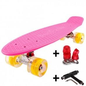 FunTomia® Mini-Board Skateboard und Tragetasche in Pink mit gelben LED-Leuchtrollen inkl. 1x T-Tool+Lenkgummis