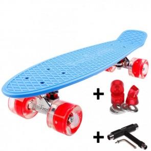 FunTomia® Mini-Board Skateboard und Tragetasche in Blau mit roten LED-Leuchtrollen inkl. 1x T-Tool+Lenkgummis