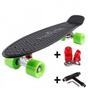 FunTomia® Mini-Board Skateboard und Tragetasche in Schwarz mit grünen Rollen inkl. 1x T-Tool +Lenkgummis