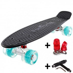 FunTomia® Mini-Board Skateboard und Tragetasche in Schwarz mit petrol LED-Leuchtrollen inkl. 1x T-Tool +Lenkgummis