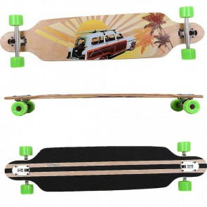 FunTomia® Freerider Longboard 9 Lagen Ahornholz in Farbe Beach Car