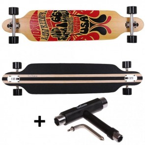 FunTomia® Freerider Longboard 9 Lagen Ahornholz in Farbe Route 66 + T-Tool