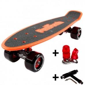 FunTomia® Mini-Board Orange mit Big Wheel Rollen und ABEC11 Kugellager inkl. 1x T-Tool+Lenkgummis
