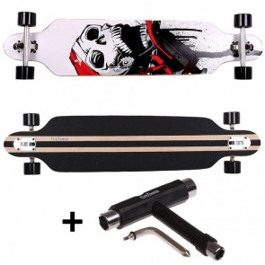 FunTomia® Freerider Longboard 9 Lagen Ahornholz in Farbe Weiß Totenkopf + T-Tool