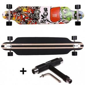 FunTomia® Freerider Longboard 9 Lagen Ahornholz Design Psycho + T-Tool