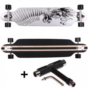 FunTomia® Freerider Longboard 9 Lagen Ahornholz in Farbe Silber Geier + T-Tool