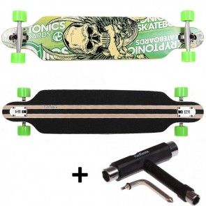 FunTomia® Freerider Longboard 9 Lagen Ahornholz in Farbe Grün Totenkopf + T-Tool