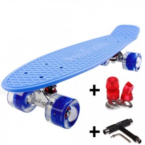FunTomia® Mini-Board Skateboard und Tragetasche in blau mit blauen LED-Leuchtrollen inkl. 1x T-Tool+Lenkgummis