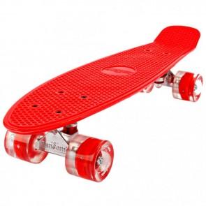 FunTomia® Mini-Board Skateboard und Tragetasche in rot mit roten LED-Leuchtrollen