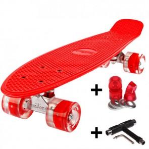 FunTomia® Mini-Board Skateboard und Tragetasche in rot mit roten LED-Leuchtrollen inkl. 1x T-Tool+Lenkgummis