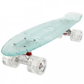 FunTomia® Mini-Board Skateboard und Tragetasche in weiß mit weißen LED-Leuchtrollen