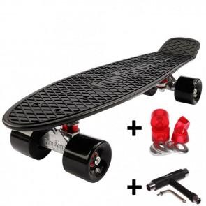 FunTomia® Mini-Board Skateboard und Tragetasche in Schwarz mit schwarzen Rollen inkl. 1x T-Tool+Lenkgummis