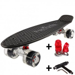 FunTomia® Mini-Board Skateboard und Tragetasche in Schwarz mit schwarzen LED Rollen inkl. 1x T-Tool+Lenkgummis