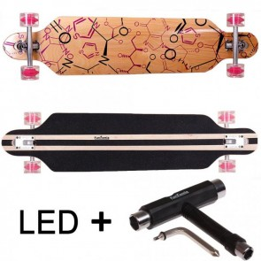 FunTomia® Freerider Longboard 9 Lagen Ahornholz in Farbe Phrase mit pinken LED Rollen + T-Tool