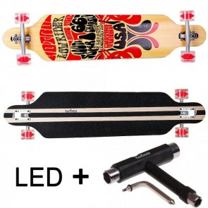 FunTomia® Freerider Longboard 9 Lagen Ahornholz in Farbe Route66 mit roten LED Rollen + T-Tool