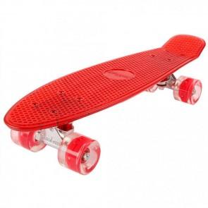 FunTomia® Mini-Board Skateboard und Tragetasche in transparent rot mit roten LED-Leuchtrollen